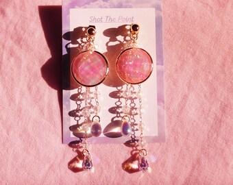 Pink Suncatcher Crystal Drop Earrings