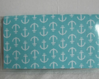 Nautical Checkbook Holder - Aqua Anchors Checkbook Case - Checkbook Cover for Duplicate Checks -Nautical Cash Envelope - Anchor Checkbook