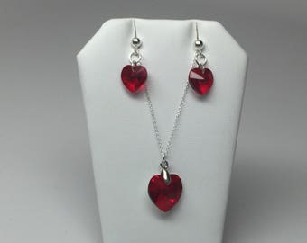 Sterling silver and Swarovski Crystal heart necklace and earrings (Siam)
