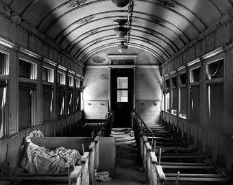 Train Interior Photograph - 16x20 inch Black and White Photo - Grant Brittain Fine Art