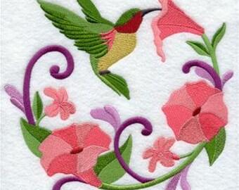 Embroidered Kitchen Towels, Tea Towels, Housewarming Gift, Hummingbird Wreath Towel