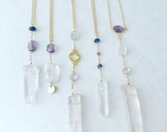 Clear Quartz Necklace, Crystal Quartz Necklace, Tanzanite Necklace, Healing Necklace,  Boho Necklace, Layering Necklace, Kyanite Necklace