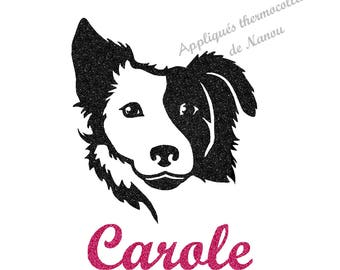 Applied fusible personalized girl dog border collie in glitter flex