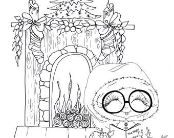 INSTANT DOWNLOAD Digital Digi Stamps Big Eye Big Head Dolls Digi  Night Before Christmas 2  By Sherri Baldy