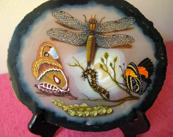 Victorian painting on Sarah. Butterflies, caterpillar, gemstone.