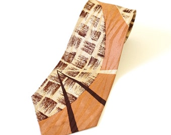 "Vintage 1960s Neck Tie 53""L / Copper Ecru Brown Acetate, Mid Century Pattern"