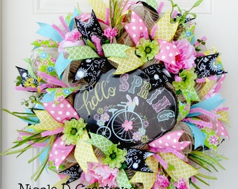 Deco Mesh Wreath- Front Door Wreaths- Spring Wreath
