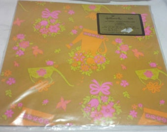 Retro Gift Wrap For Your Shower Wrapping Paper Vintage Neons Flowers 1970s