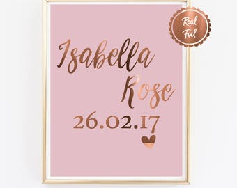 Custom Baby Print // Copper foil baby poster // Personalised birth details print // Copper birth print // Baby arrival announcement // BABY