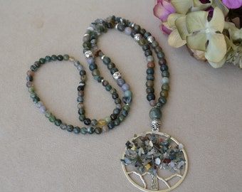 Necklace in Indian agate with tree-shaped life pendant in Indian agate.