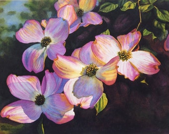 Pink Dogwoods art watercolor painting print by Cathy Hillegas, 8x10 art, watercolor floral, watercolor print, watercolor dogwood, pink blue