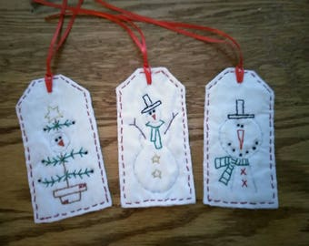 Winter Snowman Tags, hand stitched