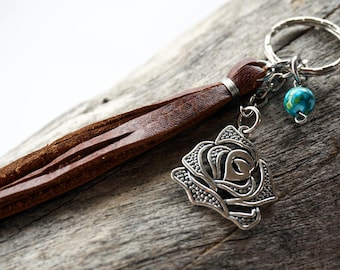 Leather Tassel Rose Keychain - Silver Rose Keychain - Rose Keyring - Flower Keyring - Gift for Her - Country Keychain - Turquoise Keychain