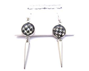 Silver Spike Earrings | Silver Drop Earrings | Dangly Earrings | Houndstooth Earrings | Glass Earrings | Bridesmaid Earrings