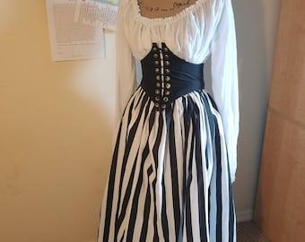 Pirate Wench Renaissance Stripes Skirt