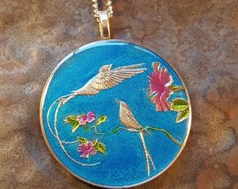 Jamaica 1980 -  Hummingbird Coin Pendant - Hand Painted