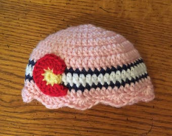 Preemie ~ Soft Pink Colorado Flag Beanie with Scolloped Edge