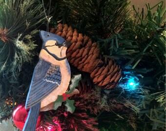 Blue Jay Ornament - Blue Jay Christmas Ornament - Wooden Blue Jay