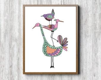 Quirky Birds Nursery / Girls Room Print - Three Little Birds Wall Art - Whimsical Poster - Bird Wall Decor -Colorful Art Print - Digital Art