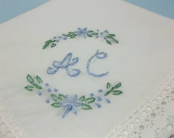 Personalized something blue, wedding handkerchief, monogrammed, bridal gift, hand embroidered, gift for bride, bouquet wrap, daughter hanky