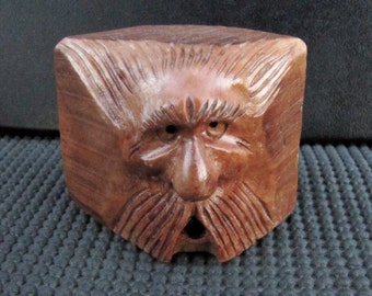 Wood Spirit, Wood Carving, Blockhead, Wizard, Mountain Man, OOAK Handmade Artist Sculpture, Log Cabin Decor, Briar Wood, Whimsical, WS-126