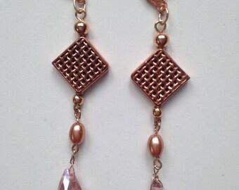 Rose Gold and Swarovski Pink Drop Crystal Earrings