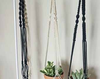 Macrame Plant Hanger | Natural White Cotton Rope | 3 Strand Indoor Hanging Planter | Plant Pot Holder | Boho Decor