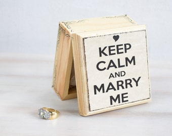 Keep Calm and Marry Me Proposal Ring Box Wedding Ring Bearer Box Wedding Box Engagement Box Wedding Ring Box Pillow Alternative, Ring Holder