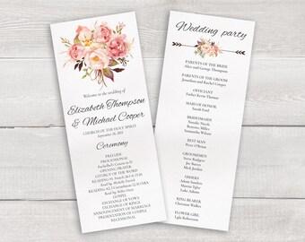 SALE 30% OFF Boho Wedding Program Floral Wedding Ceremony Program Template, Whimsical Wedding, Printable Wedding Timeline, Order of Ceremony