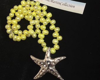 Yellow lg. Fresh water pearl, lg. Silver starfish necklace