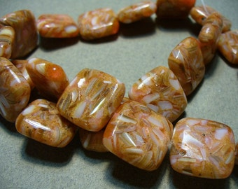 Mother of Pearl Resin Beads Orange Round 18x18MM
