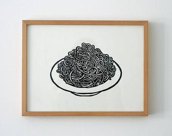 Original print poster spaghetti plate, black and white