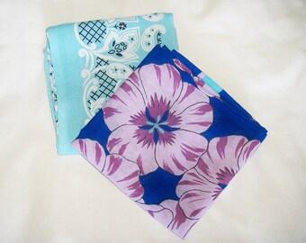 2 Vintage Cotton Bandannas • light blue tone • Fast Color & Paris bandana