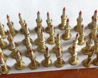 Dollhouse Miniature Brass candle sticks set of 6