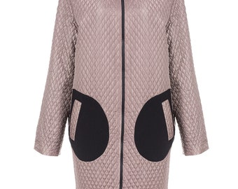 Pink long light oversize women's coat in the urban style