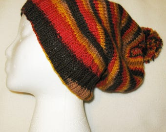 100% Wool Knit Hat - Autumn colors slouchy beanie