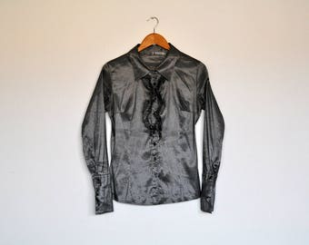 Vintage Metallic Silver Button Up Long Sleeve Shirt Ruffled Front Blouse