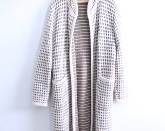 Neutral Pattern Long Duster Sweater