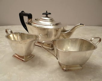 set in silver plated coffee style art deco made in England