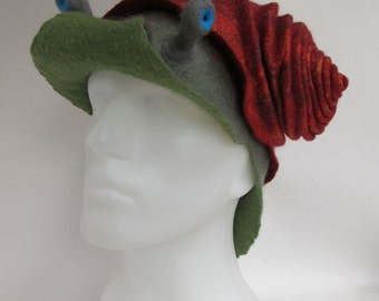Felted wool snail hat in reds and greens