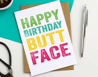Happy Birthday Buttface Funny joke Birthday Card Typographic contemporary Birthday Greetings Card DYPHB58