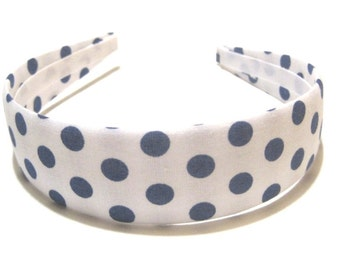 Fabric Covered Headband Blue White Polka Dots Girls Headband Adult Headband Cute Headband Preppy Boutique Birthday Gift Party Favors