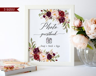 Photo Guest Book Sign,Polaroid Guest Book Sign,Wedding Photo Guest Book Printable,Floral Photo Guest Book Wedding,Marsala Guest Book Sign