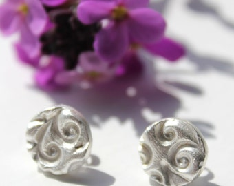 Ocean wave silver stud earrings, chunky silver studs, silver stud earrings, large stud earrings, handmade recycled silver nature jewellery