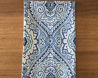 Linen Tea Towel, Hampton's Blue and White Damask Linen Tea Towel. Great Kitchen Tea or Housewarming Gift.