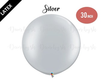 30 Inch Giant Balloons, SILVER, Wedding, Graduation, Birthday, Baby Shower, Bridal Shower, Engagement, Photo prop