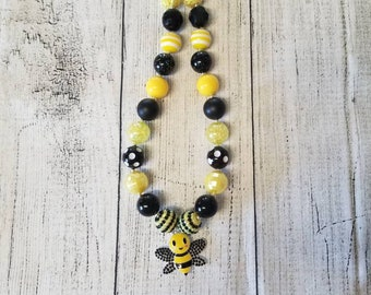 Yellow and black bumblebee pendant chunky necklace
