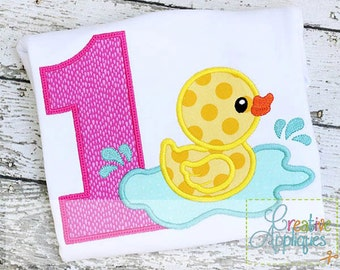 Rubber Ducky Duck Birthday Number 1 Digital Machine Embroidery Applique Design 4 SIZES