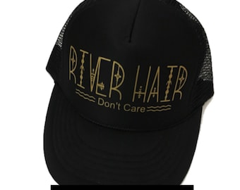 River Hair Don't Care, Women's Trucker Hat, Summer Hat, River Hat, Snapback, Women's Cap, Camping Hat, Camp Hat, River Hair, Cute Hat, Black