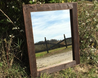 Reclaimed Wood Mirror - Rustic Home Decor - Custom Size Mirrors